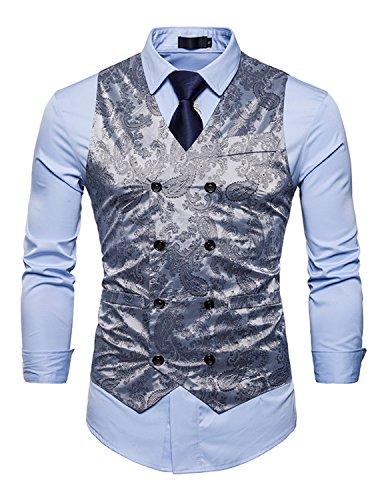 UUAISSO Herren Paisley Weste Slim Fit Geschäft Hochzeit Elegant Anzugweste V-Ausschnitt Blazer Hellgrau