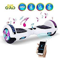 """SISGAD 6.5""""Fashional Hoverboard-Due Ruote Auto bilanciamento Scooter per Bambini Adulti con luci a LED e Altoparlante Bluetooth (Bianco)"""