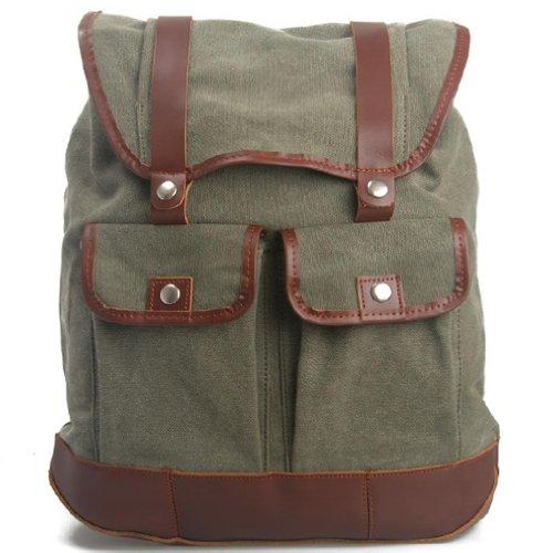 KAXIDY Daypack Leinwand Leder Sporttaschen Trekkingrucksack Rucksäcke Segeltuch Schulrucksäcke Taschen (Armee-Grün) Armee-Grün