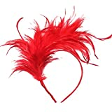 Coucoland 1920s Haarreif Feder Fascinator Damen Gatsby Cocktail Party Fascinator Englische Tee Party Accessoires (Rot)