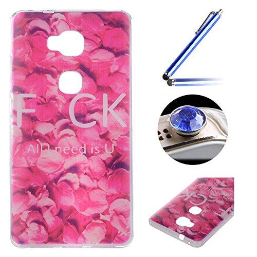 Huawei Honor 5X TPU Coque étui,Huawei Honor 5X Ultra-minces Silicone Doux Housse,Etsue Joli élégant Roses Pétale Peint Motif Design Souple Gel avec Transparent Cadre de Housse Coque Coquille pour Huawei Honor 5X + 1x Bleu style + 1x Bling poussière plug (couleurs aléatoires) - Roses Pétale