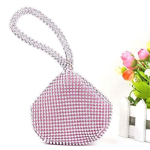 SODIAL(R) Petit Doux Corps Perle bracelet Poche Forme Portable Soiree Sac porte-monnaie sac -Rose