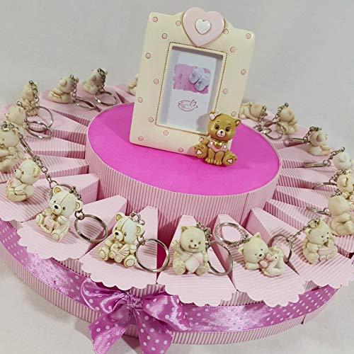 Bomboniere gattina orsetta per battesimo nascita bimba con torta bomboniera da 20 fette con confetti rosa