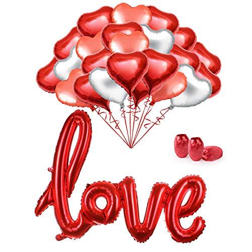 MMTX 34 Pack Papel de Helio Rojo Corazón Globos Conjunto de 18 Pulgadas Para el Día de San Valentín Aniversario de Despedida de Soltera Nupcial y Decoración de Compromiso. (Con cinta)