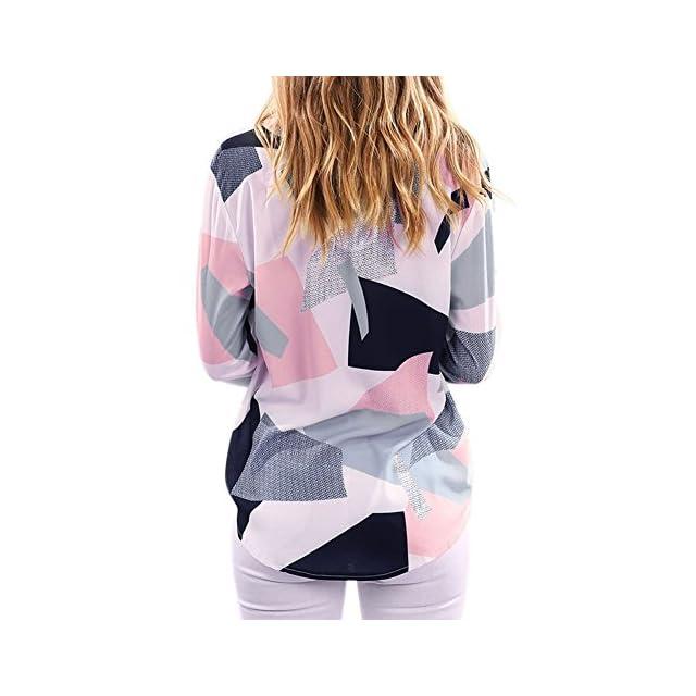 3fc23602004f ... LAEMILIA Chemsie Femmes Manches Longues Chemiser à Carreaux Col V Tops  Slim Elégante Blouse Shirts