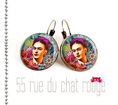 Boucles d'oreilles cabochon de verre 12/14/16/18/20 mm Portrait Frida Kahlo, Mexique, Bohême chic, gypsy, multicouleur