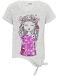 M&Co Girls Cotton Blend Cream MARL Short Sleeve Girl Print Two Way Sequin Tie Hem T-Shirt