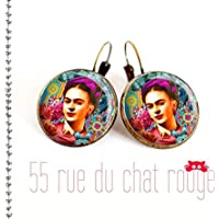Glas Cabochon Ohrringe 14 mm Porträt Frida Kahlo, Mexiko, böhmischer Chic, Zigeuner, mehrfarbig