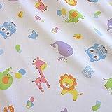 Stoff Meterware Baumwolle weiß bunt Tiere Baby Löwe Eule Kleiderstoff