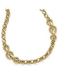 14ct oro pulido con textura Fancy Enlace Collar–46cm