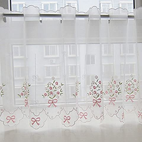 Cafe Curtain, Embroidery Floral Voile Kitchen Window Valance 35