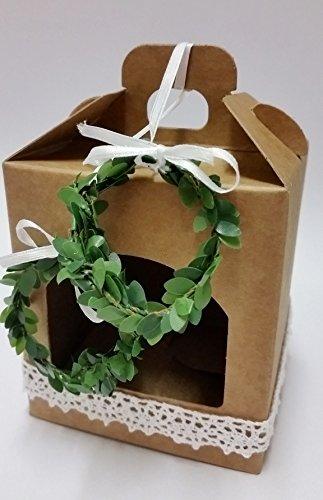 5 Gastgeschenke Hochzeit Vintage Geschenkbox mit Spitze/weiß 2 Buchsbaum Ringe) (Hochzeit Ring Buchsbaum)