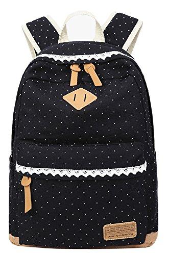 geek-m-schulrucksack-madchen-canvas-rucksack-tupfen-mit-lace-backpack-fur-schule-fur-jugendliche-sch