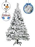 Vetrineinrete® Albero di Natale innevato Artificiale Abete con Neve folto Varie Misure Base in Metallo Decorazioni Natalizie 210 cm 846 Rami