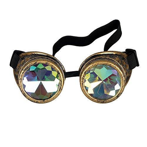 ZAIQUN Caleidoscopio de lentes estilo vintage steampunk gafas de protección gafas de punk para cosplay de Halloween Hombres Mujeres Glasses