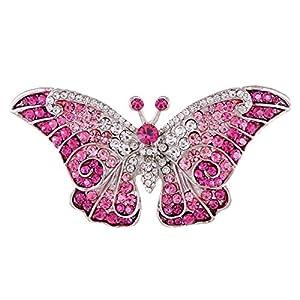 Alilang Empress Monarch Lila Grün geflügelten Schmetterling Kristall Strass Brosche