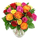 Clare Florist Rainbow Roses Flower Bouquet - Vividly Colourful Fresh Mixed Roses