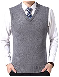 Chaleco de Suéter Hombre Sin Mangas Cuello en V Color Sólido Negocio Punto Chalecos