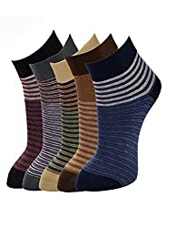 MARC COTTON 5 PAIR STRIPED ANKLE SOCKS