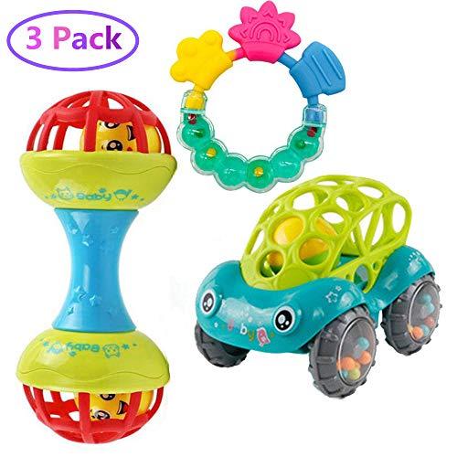 Geenber Baby Rassel Spielzeug Set 1 Pack Spielzeugautos und 2 Pack Rassel Rock Ring Shaker Weiche Kind Rassel & Rolle Beißring