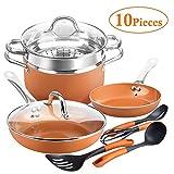 SHINEURI Copper Pots & Pans Set 10 Pieces Cookware Set, 8inch Fry Pan