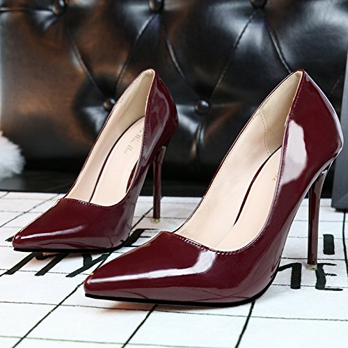 Bocca poco profonda semplici scarpe da donna con super-sottile tacco alto appuntiti slim sexy Scarpe donna Red wine