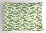 TEPEED Palm Leaf Pillow Sham, Exotic Pattern with Tropical Leaves in Watercolor Art Style Jungle Luau Hawaii, Decorative Standard King Size Printed Pillowcase, 20 X 30 Inches, Fern Green