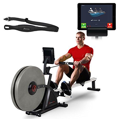 Sportstech Rameur ergomètre RSX400 Compatible avec Application Smartphone, Ceinture Cardio, Pliable et Pratique, 8 Niveaux de résistance, siège avec roulements à Billes, Rail en Aluminium