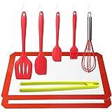 yhgo (link-a06) normas de FDA/LFGB herramientas de cocina de silicona antiadherente de Full -- 2silicona Mat (42x 29.5cm) + incluye pinzas de silicona para horno 5juegos (rojo)