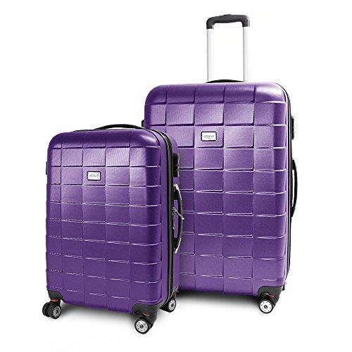BERWIN Kofferset L + XL 2-teilig Reisekoffer Trolley Hartschalenkoffer ABS Teleskopgriff Modell Squares (Lila)