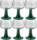 Böckling 6 x Weinrömer Jagst 200 ml Geeicht Weinlaub mit grünem Fuß, Weinglas, Römergläser, Elsässer Wein Kristallglas -