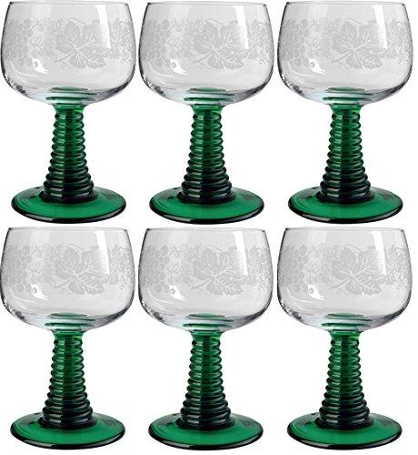 Böckling 6 x Weinrömer Jagst 200 ml Geeicht Weinlaub mit grünem Fuß, Weinglas, Römergläser, Elsässer Wein Kristallglas