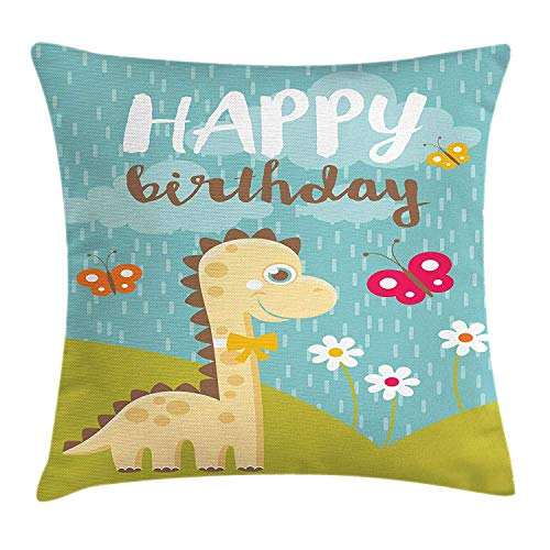 Pillow Cushion Cover, Cute Celebration Happy Birthday Message to Lovely Friend Baby Dino Butterfly, Decorative Square Accent Pillow Case, 18 X 18 inches, Multicolor ()