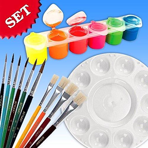 malset scolaire couleurs fluo, Pinceau et une palette de mélange