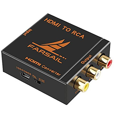 FarSail HD 1080p HDMI to RCA CVBS AV Composite Audio Video Converter Adapter Box Support PAL/NTSC Switch with USB Charging