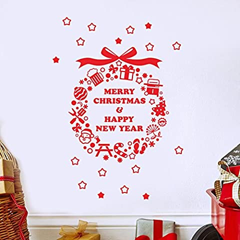 Christmas Wreath Quote Home Vinyl Wall Stickers Wall Decal Decoration