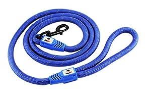 Laisse pour chiens inspirée des cordes d'escalade 122 cm – 182 cm : confortable, durable et capable d'amortir les chocs avec une poignée en mousse et une boucle souple pour les mains afin de favoriser la promenade, la course et le dressage de votre animal