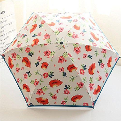 Palony ultraleggero e piccolo ombrello di plastica nero matita umbrella ms. pieghevole ombrello sole labbra stampa ombrellone , white