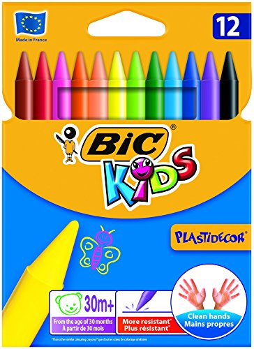 Bic Kids Plastidecor Crayons Colour Hard Long-lasting Sharpenable Vivid Assorted Ref 829770 [Pack 12]