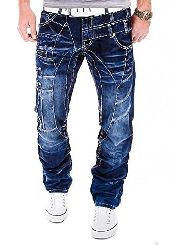 Kosmo Lupo K&M 040 Designer Jeans Homme Cargo Black Bleu