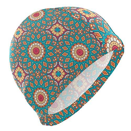 Gebrb Gorro de Baño/Gorro de Natacion, Swim Cap Mandala Pattern Bohemian Mens Swimming Cap Boy Adult Teen Swimming Hat No-Slip