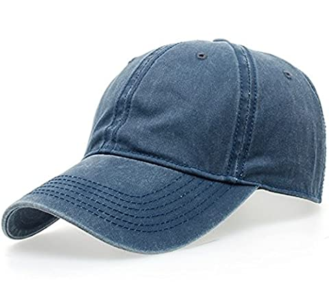 Thenice Washed Cotton Twill Baseball Cap Adjustable Sport Hat (Navy)