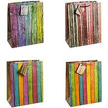 TSI 12er Pack Geschenktüte mittel ca 18 x 10 x 23 cm Weihnachten 9 SCHWARZ