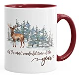 Tasse Weihnachten kaffeebecher It`s the most wonderful time of the year Hirsch Weihnachtsmotiv Autiga® bordeauxrot unisize