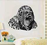 Ysurehom Gorilla Wall Sticker Black And White Animals Decals Removable Waterpaper For Living Room Decorative Home 50X70Cm