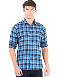 Blue With Navy Checks Full Sleeve Casual Shirt