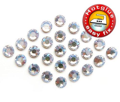 100 Stück SWAROVSKI Kristalle Hotfix, Crystal Moonlight, SS12 (Ø ca. 3,1 mm), Strasssteine zum Aufbügeln -