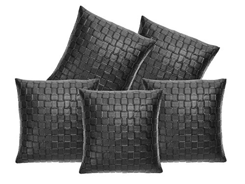 16x16 Premium Featured Designed Cushion Cover Set of 5 Pcs-Mesmerising Black