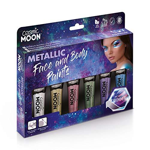 Cosmic Moon - Metallic-Gesichtsfarbe/Make-Up für Gesicht & Körper - 12ml - Erstellen Sie faszinierende Metallic-Gesichtsfarben-Designs! - Box-Set - Enthält: Rosa, Gold, Blau, Grün, Silber, Violett