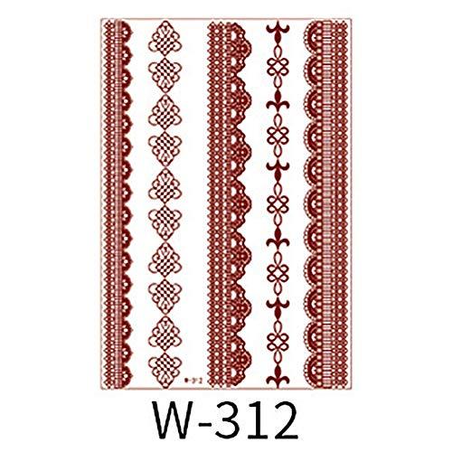 tailor13me Mode wasserdichte geometrische Spitze Blume Tattoo Sticker temporäre Body Art Decal Orange Rot 312 - Braune Drache-shirt